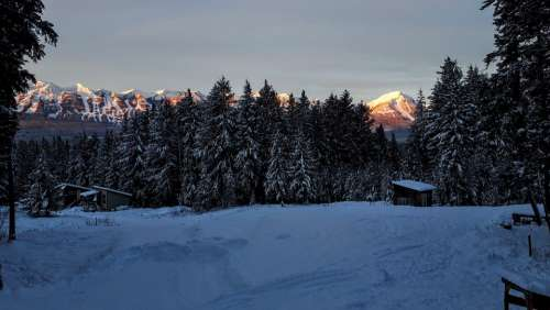 Mountains Kicking Horse Snow Winter Sunrise