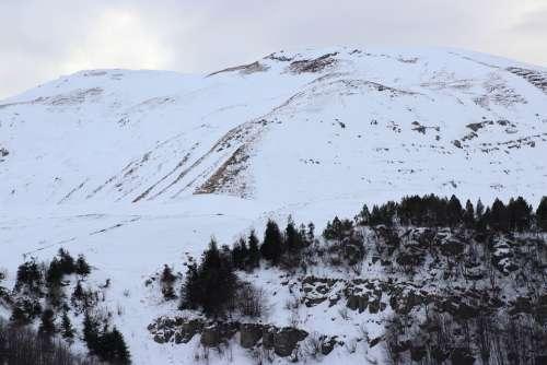 Mountains Snow Landscape Nature