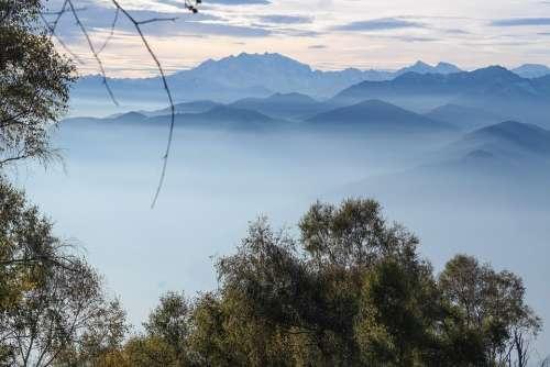 Mountains Fog Alpine Nature