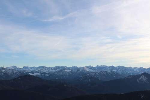 Mountains Panorama Alpine Snow Clouds Winter