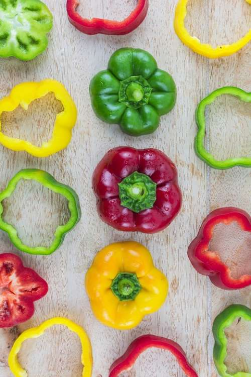 Multicolored Sweet Pepper Wooden Placed