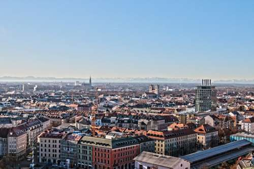 Munich Bavaria From Above Distant View Mountains