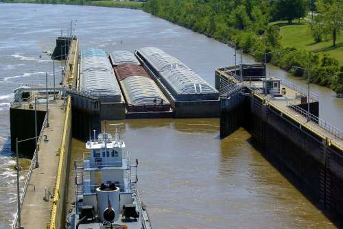 Murray Lock Barges Lock Tug Tugboat Arkansas