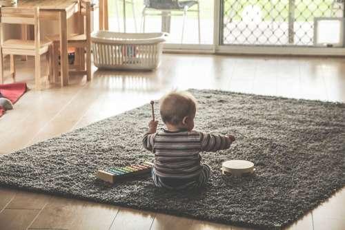 Music Kids Children Play Xylophone Tambourine