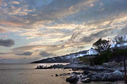 Mykonos Greece Sea Twilight Blue Water Travel