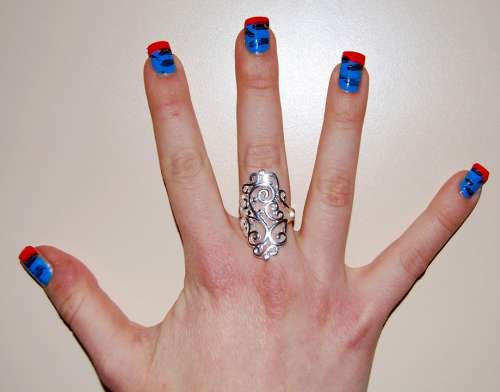 Nails Colorful Hand Ring Finger Five