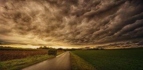 Nature Panorama Sky Sunset Dramatic Clouds