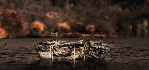 Nature Boat Wood Waters Lapsed Lake Water Old