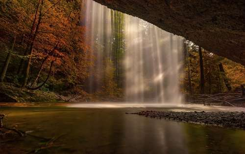 Nature Autumn Waterfall Forest Landscape Trees