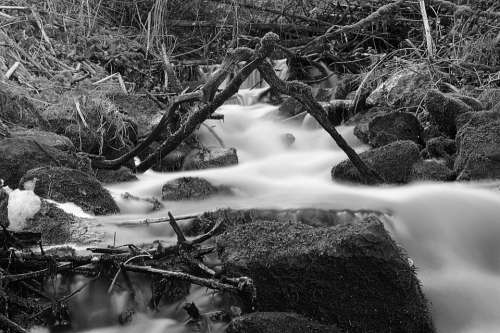 Nature Water Waterfall Black And White Wet Autumn