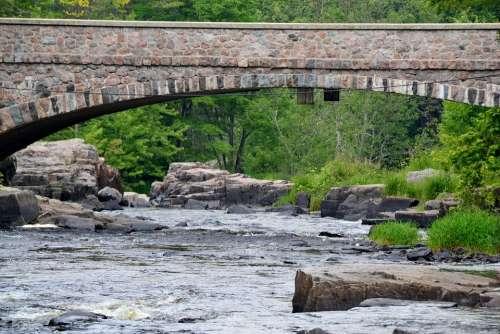 Nature River Water Rocks Bridge