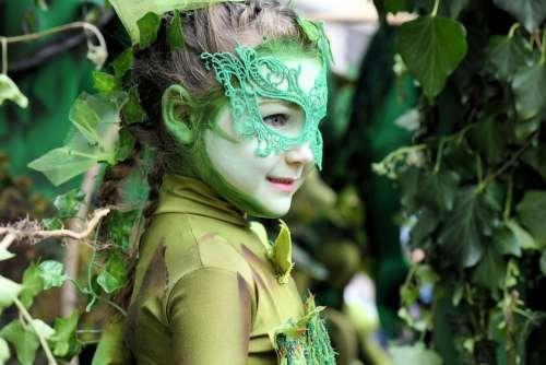 Nature Green Plant Leaves Girl Mask