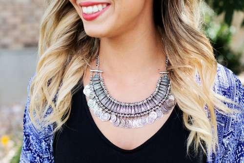 Necklace Jewelry Silver Woman Pretty Elegant