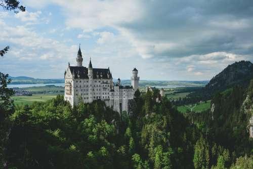 Neuschwanstein Castle Hillside Forest Medieval