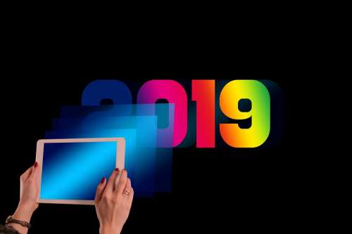 New Year'S Day Year Businesswoman Tablet Bokeh