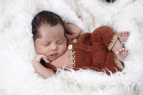 Newborn Baby Bear Costume Boy Sleep