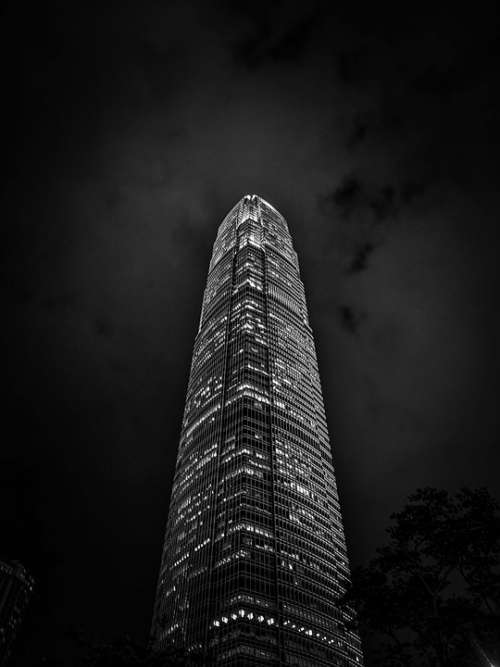 Night Black And White Tower Financial Hong Kong