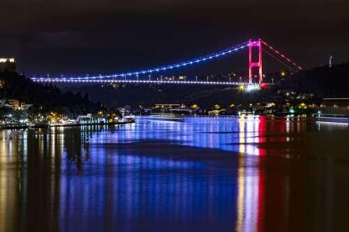 Night Bosphorus Turkey Istanbul Arnavutkoy Bridge