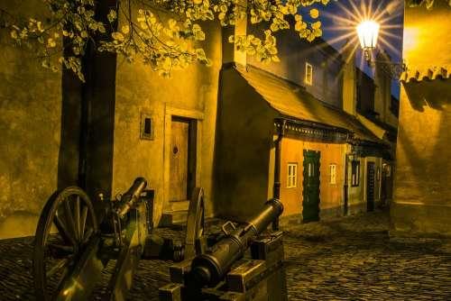 Night Alley Prague City Lighting Lamp Cannon