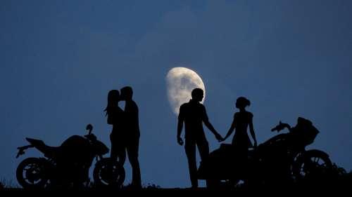 Night Moon Couples Motorcycles Romance Dark
