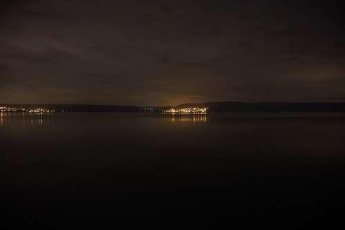 Night Lake Water Quiet Reflection Dark Mood