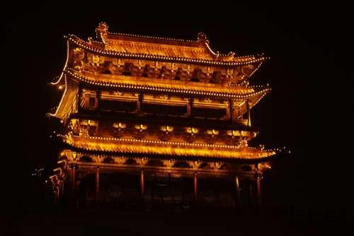Temple Night Old Town House Pingyao Pagoda China
