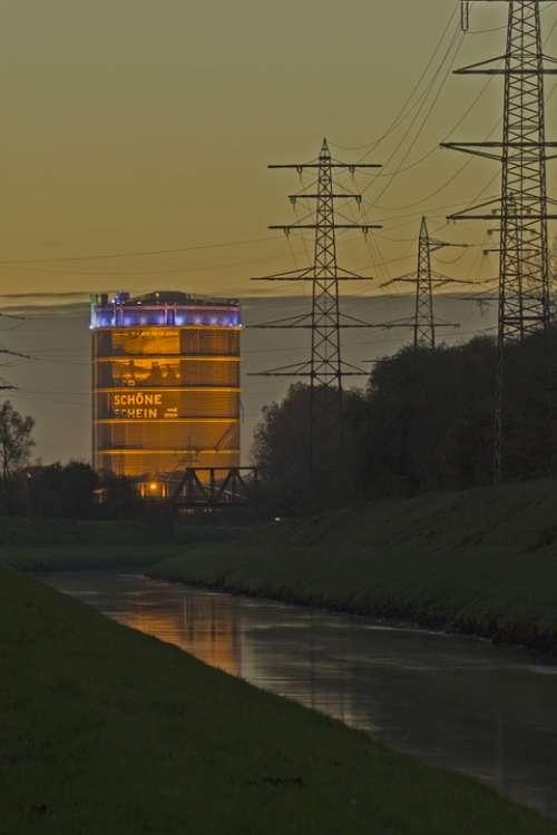Night Gasometer River Emscher Strommast Long Term