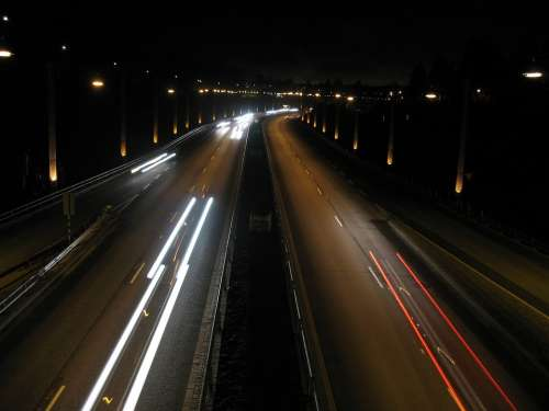 Night Lights Road Cars Dark Night City Urban