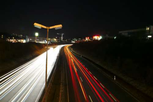 Night Photograph Road Night Lighting