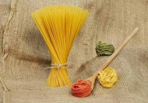 Noodles Spaghetti Pasta Yellow Colorful Raw Food