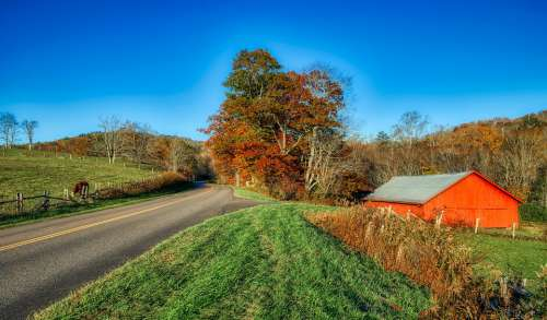 North Carolina America Panorama Hdr Autumn Fall