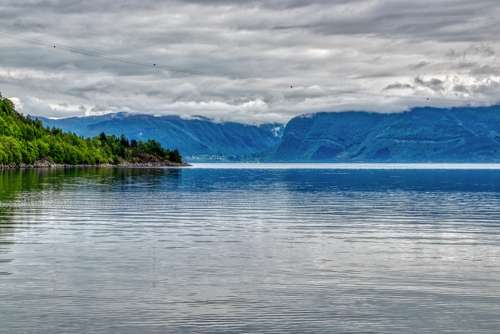 Norway Fjord Landscape Nature Water Sea Sky