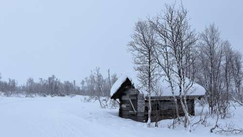 Norway Winter Snow Landscape Log Cabin Wilderness