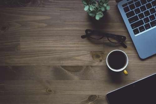 Notebook Laptop Macbook Conceptual Cup Coffee