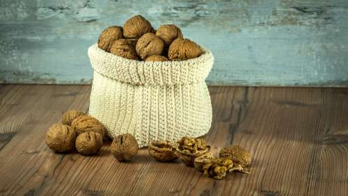 Nuts Walnuts Crop Bag Brown Health Background