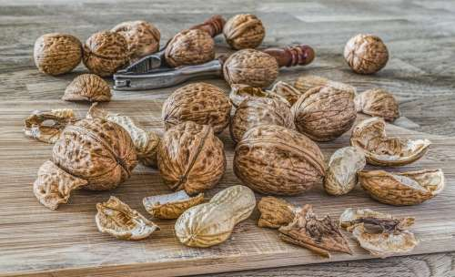 Nuts Walnuts Fruit Bowl Brown Eat Food Shell