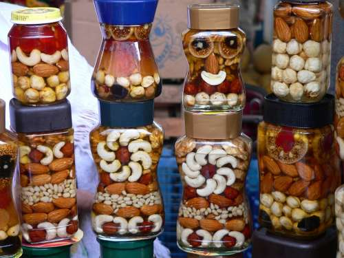 Nuts Face Colors Glass Food