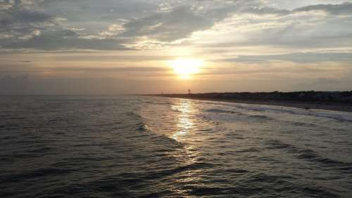 Oak Island Lake Beach Ocean Sunset North Carolina