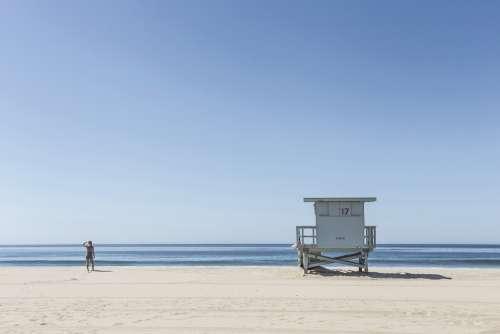 Lifeguard Ocean Beach Blue Sand Horizon