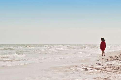 Ocean Beach Girl Waves Horizon Sky Blue Sand