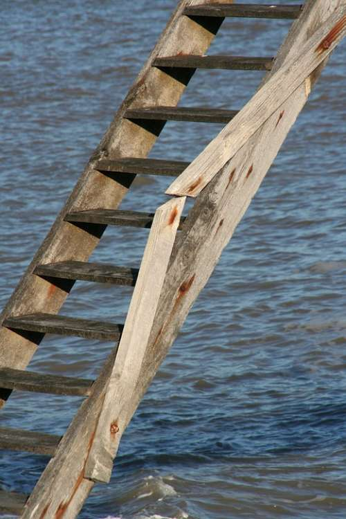 Ocean Staircase Wood Wave Side Nature Landscape