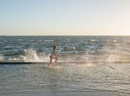 Ocean Surf People Person Child Playing Running