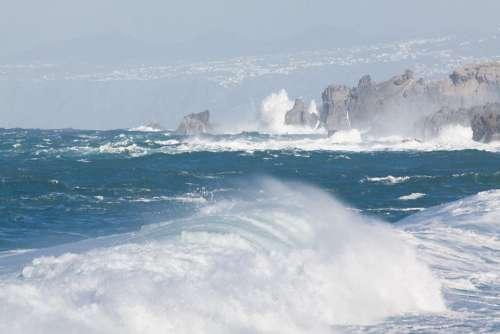 Ocean Flood Sea Wave Water Spray Vacations Surf