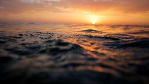 Ocean Surface Sunset Waves Sea Water Pattern