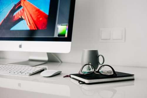 Office Home Glasses Workspace Desktop Notebook