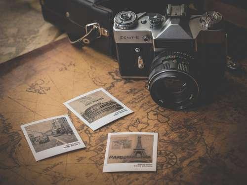 Old Journey Adventure Photo Map Retro Antique