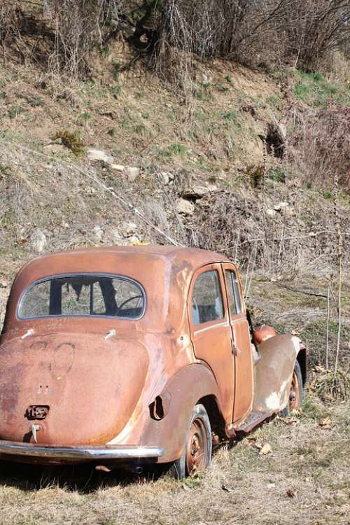 Old Car Alps France Nature Landscape