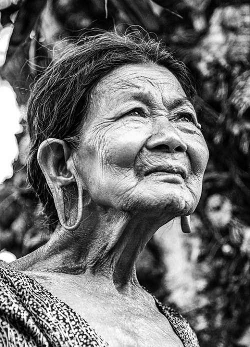 Old Woman Portrait Vietnam Black And White Elderly