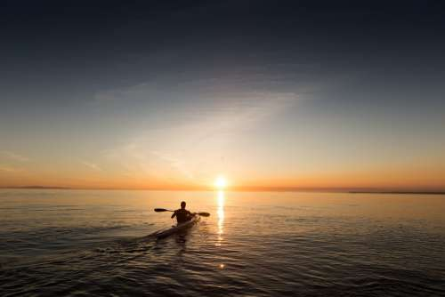 Paddle Kayak Canoe Explore Ocean Sky Water