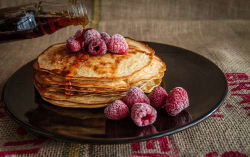 Pancakes Maple Syrup Sweet Food Breakfast